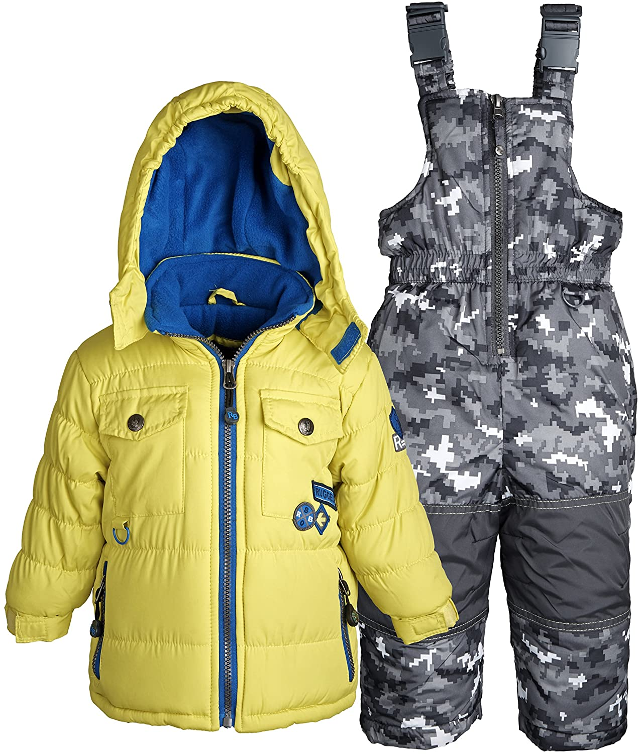 Rugged Bear Baby Boys Down Alternative Snowsuit Jacket and Snowpants Bib Set