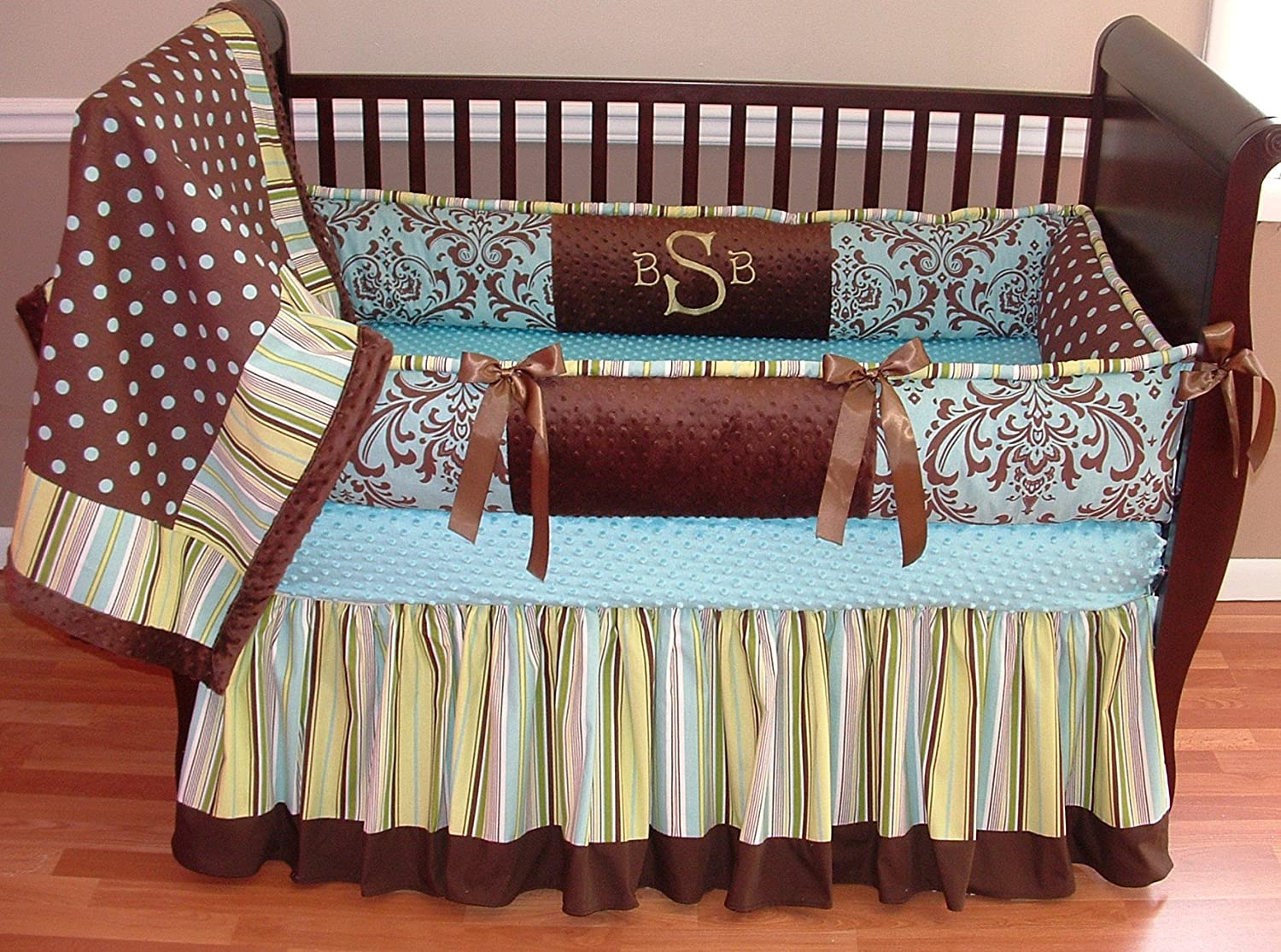 Modpeapod Blue & Brown Satin Breathable Baby Bedding Set