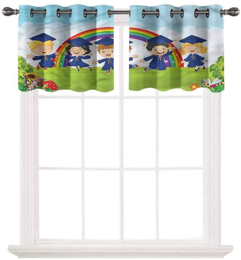 SoSung Blackout Grommet Valance,Graduation,Nursery Cartoon Kids,for Kitchen Living Dining Room Bathroom Kids Girl Baby Bedroom,W52 by L24,2 Panels