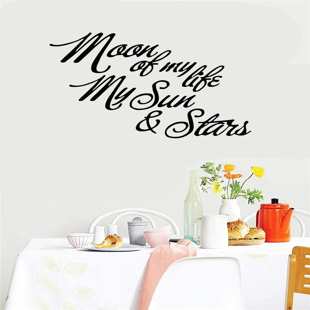 ovadeo Vinly Art Decal Words Quotes Moon of My Life My Sun and Stars for Living Room Nursery Kids Room Couple Room