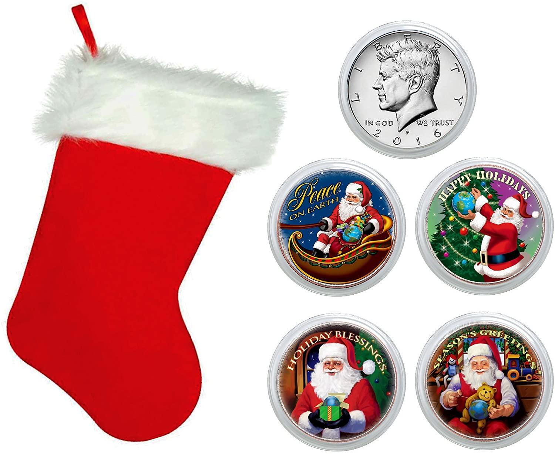 American Coin Treasures Santa Coin Collection In Christmas Stocking