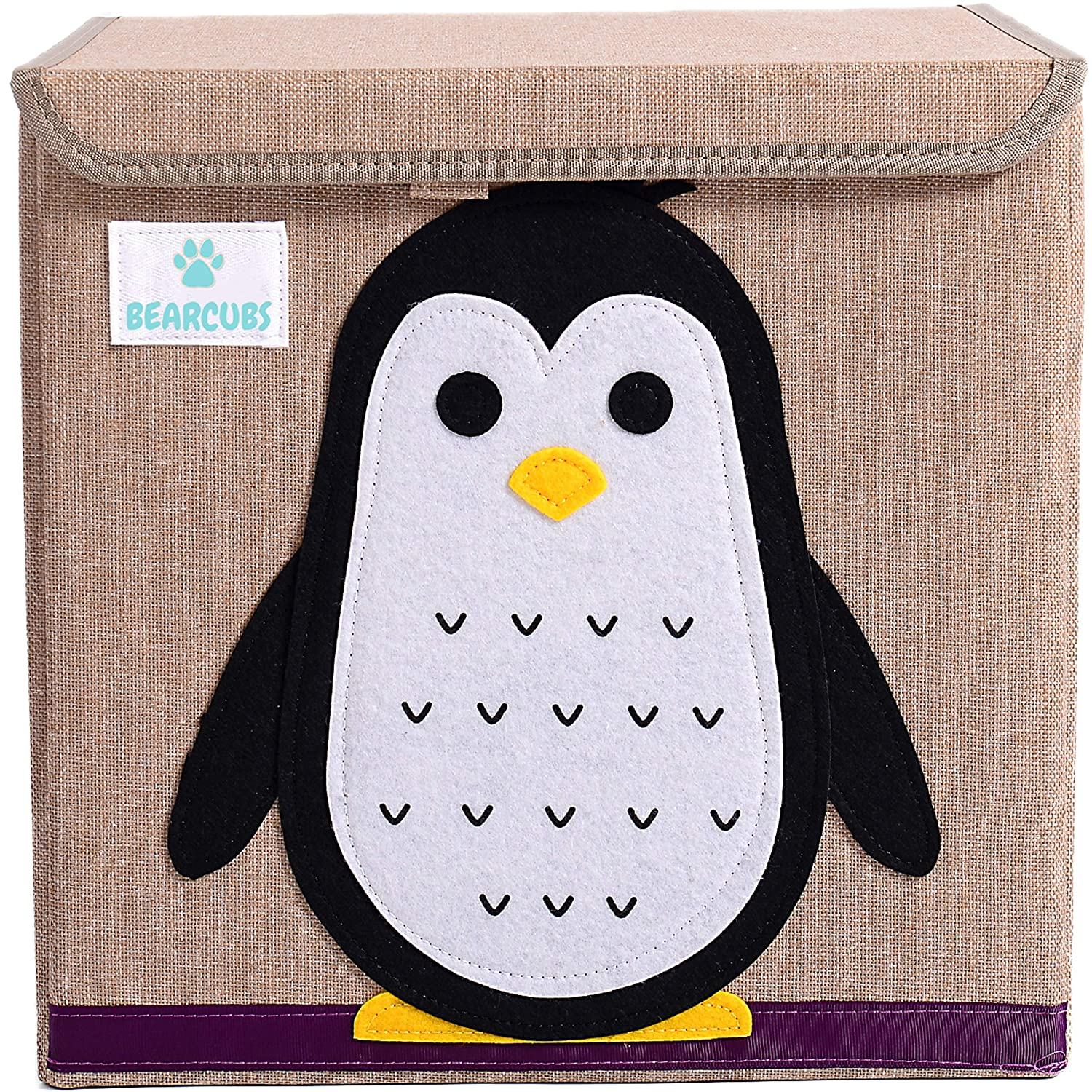 Bearcubs Small Toy Chest Foldable Stackable Storage and Organization Box for Kids - Nursery, Living Room, Playroom - Toy Bin with Lid - Designs for Boys and Girls (Penguin)