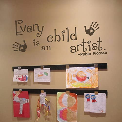 Every Child is an Artist Decal - Children Artwork Display Decal - Picasso Quote Wall Sticker (34x15 Black)