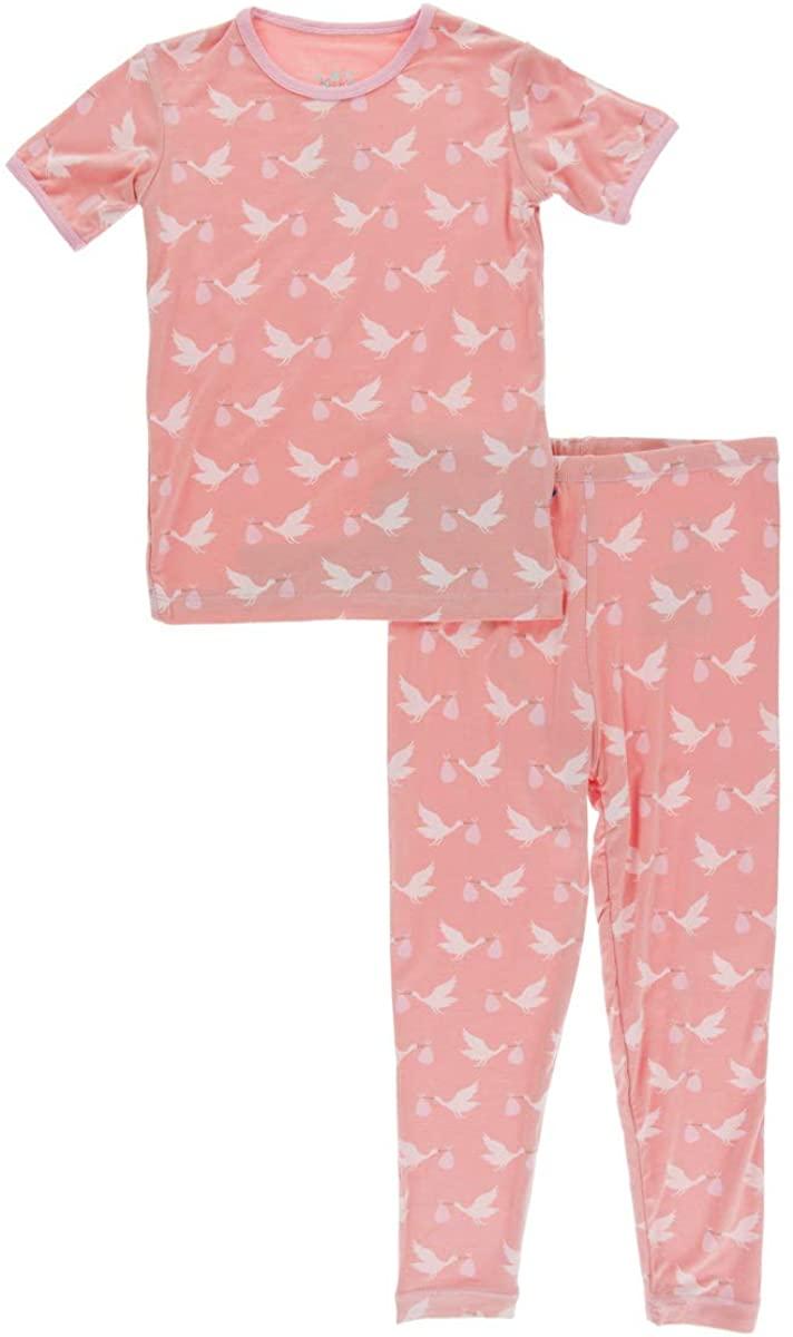 KicKee Pants Celebration Print Short Sleeve Pajama Set - Blush Stork, 4T
