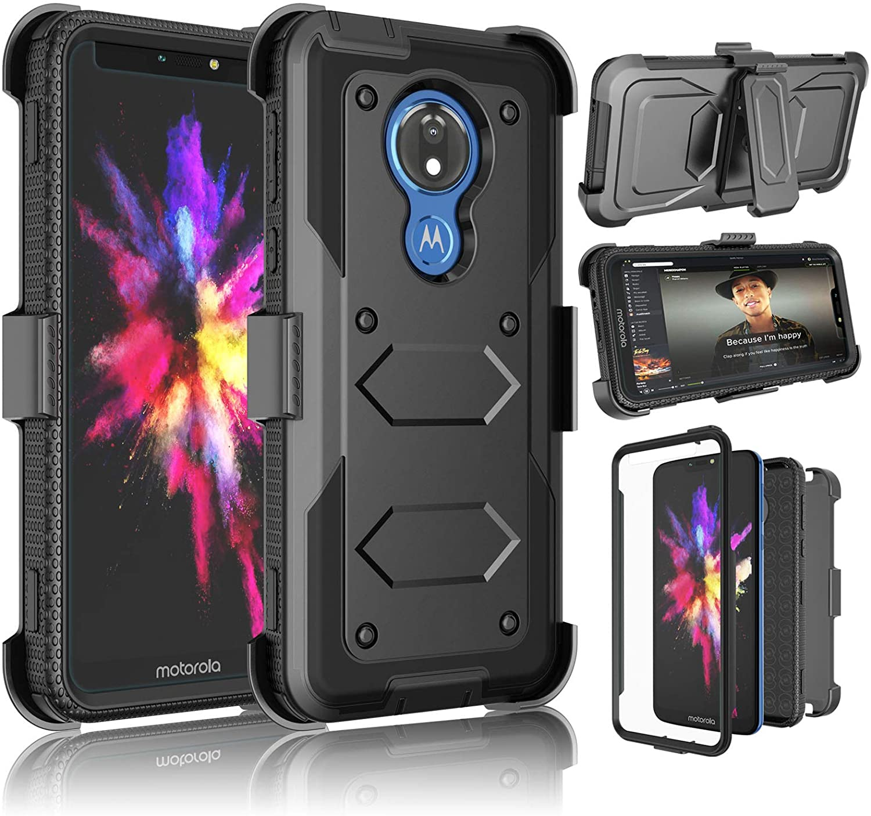 Moto G7 Power Case, Motorola G7 Supra/ XT1955/ Moto G7 Optimo Maxx XT1955DL Case, Takfox [Yvenus] Heavy Duty Shockproof Holster Belt Clip [Built-in Screen Protector] Kickstand Rugged Cover-Black