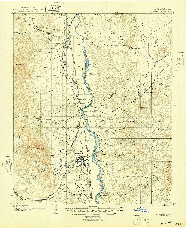 Map Print - Socorro, New Mexico (1906), 1:62500 Scale - 24