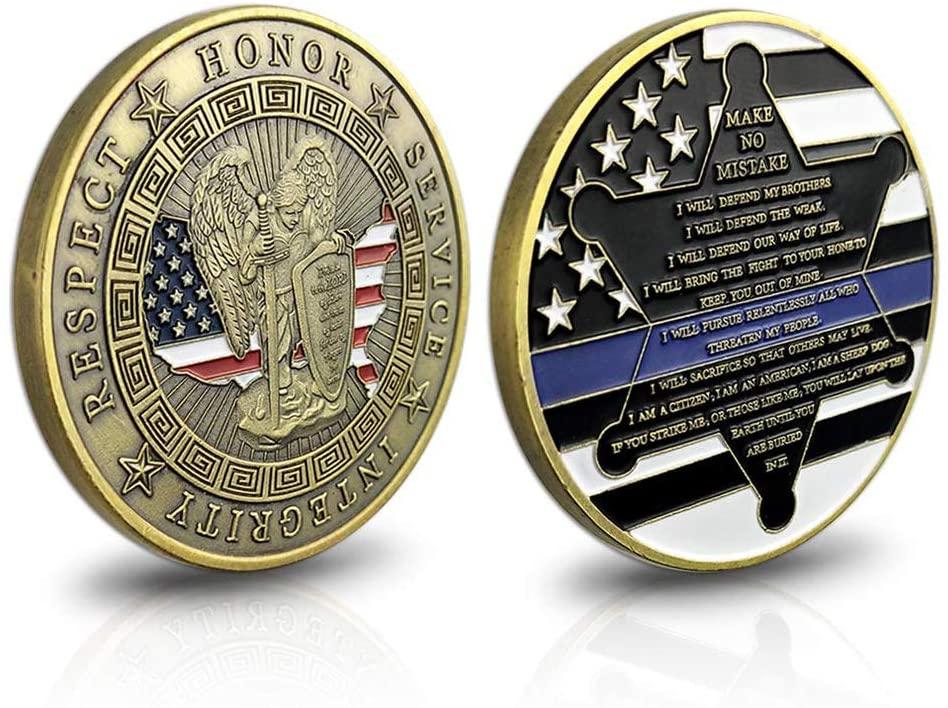 St. Michael Patron Saint of Law Enforcement Challenge Coin with Prayer Single Coin