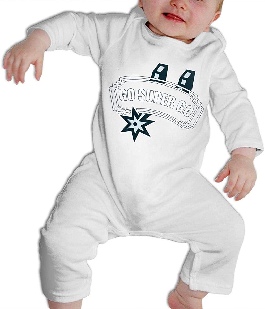 SARA NELL Go Super Go Slogan Baby Bodysuit Long Sleeve for Boys Girls Onesies