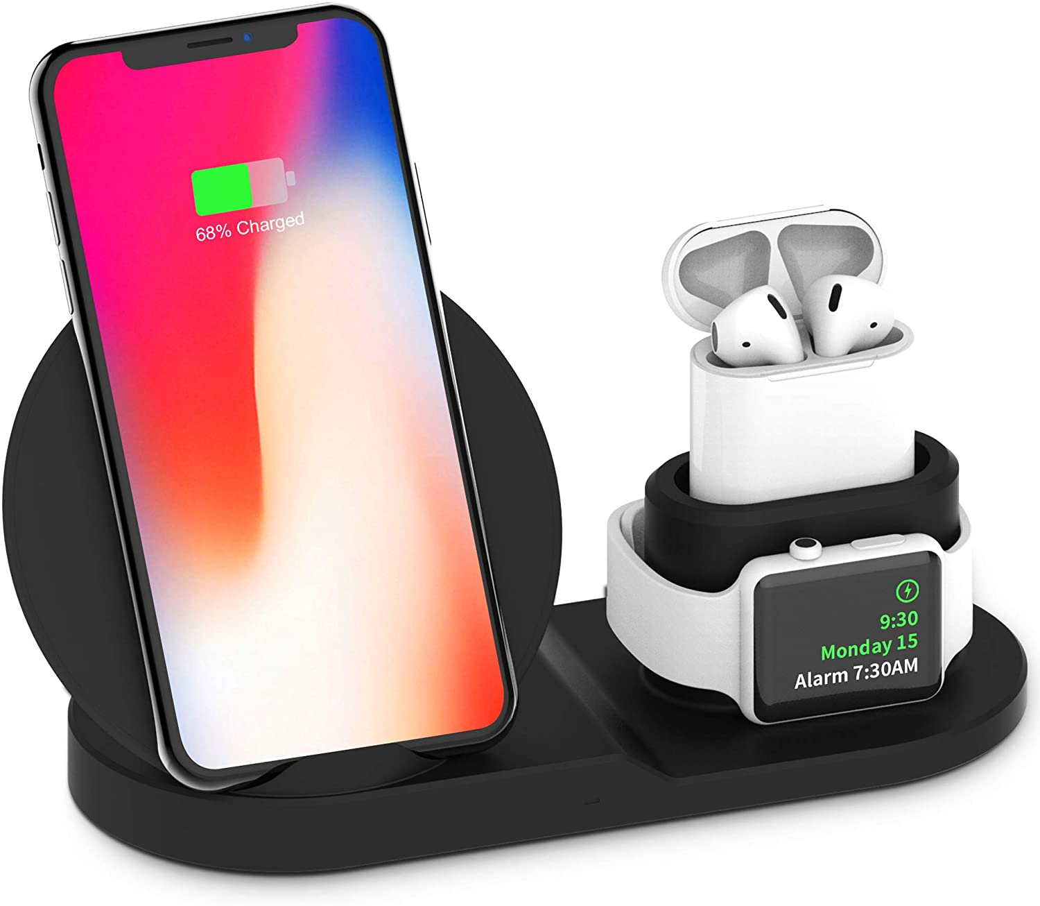 Wireless Charger, 3 in 1 Charging Station for Apple, Wireless Charging Stand Apple Watch Charger for Apple Watch and iPhone Airpod Compatible for iPhone X/XS/XR/Xs Max/8 Plus iWatch Airpods-Black