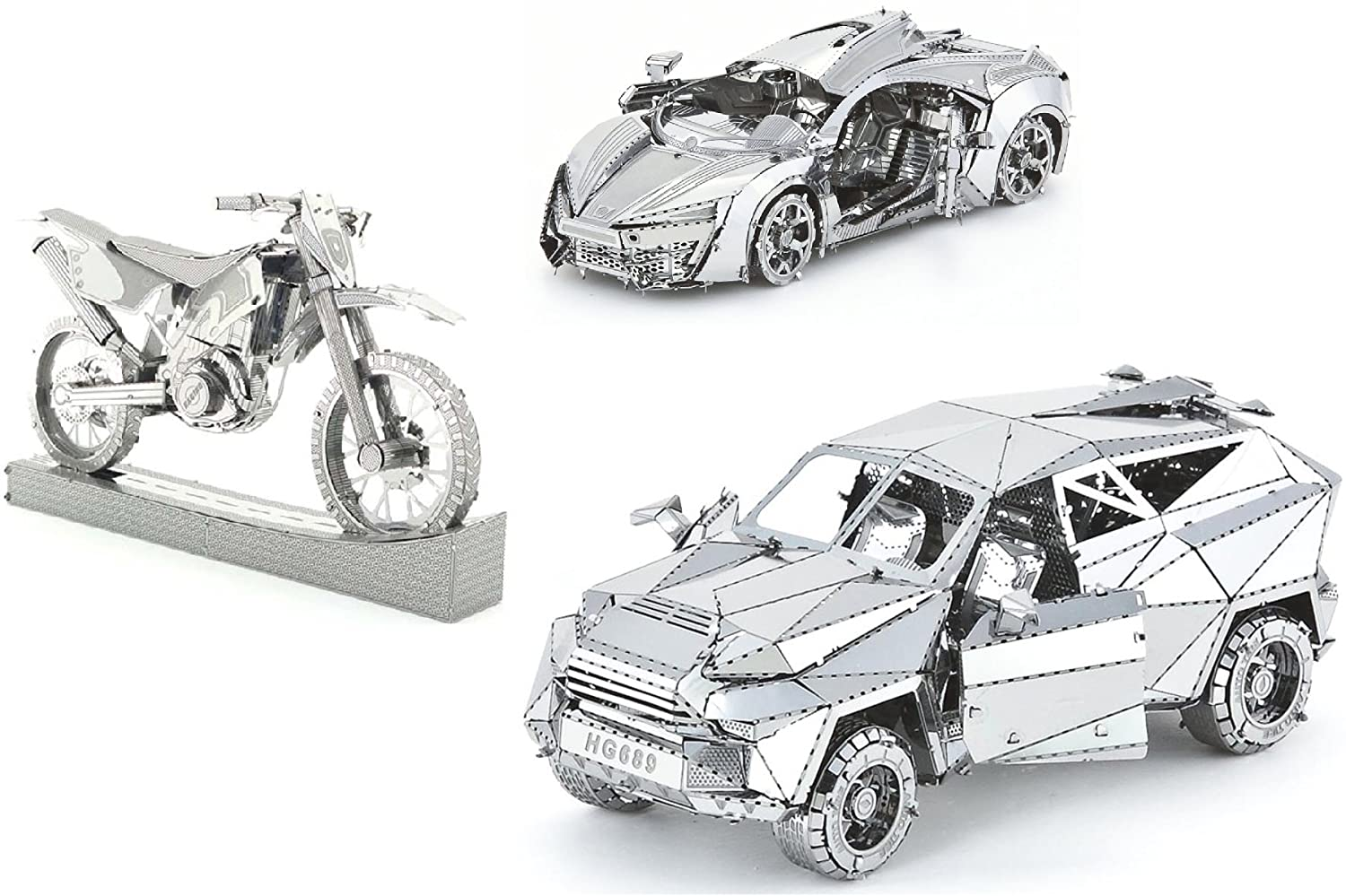 3D Metal Puzzle Car Collection Models Of Hyper Sports Vehicle, KMK F450, Motorcycle - DIY Toy Metal Sheets Assembling Puzzle, 3D puzzle – 3 Pack