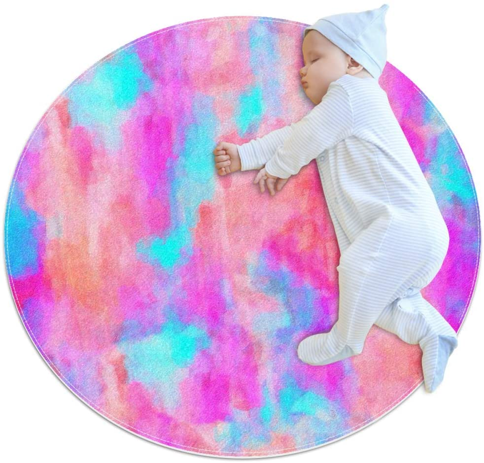 Pink Blue Art Baby Area Rug Home Decorative Carpet Soft and Washable Pad Non-Slip for Kid's Toddler Infants Room 3feet 3.4inch