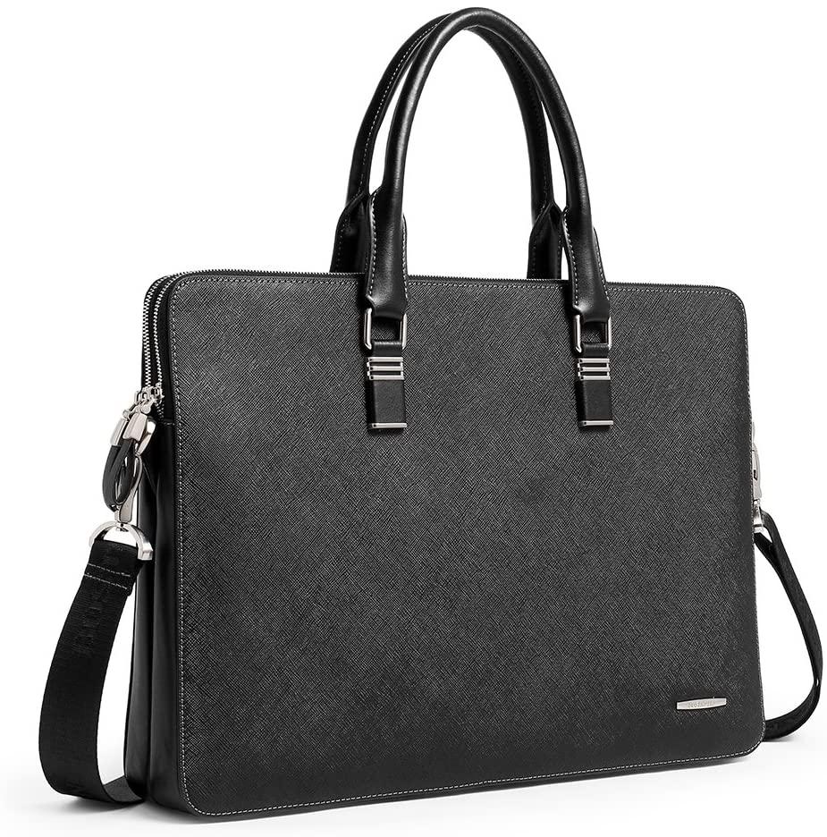 BOSTANTEN Leather Briefcase Slim Crossbody 15.6 inch Laptop Bag for Men & Women