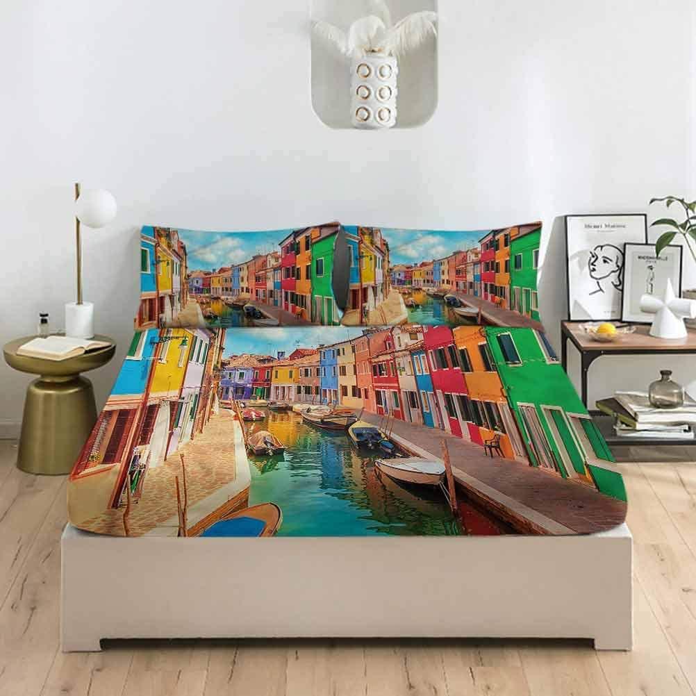 LCGGDB Venice King Size Fitted Sheet & Pillowcase Sets,Canals Child Gondolier Deep Pockets Bedding Fitted Sheets-1 Fitted Sheet with 2 Pillow Cases for Women & Men Bedding