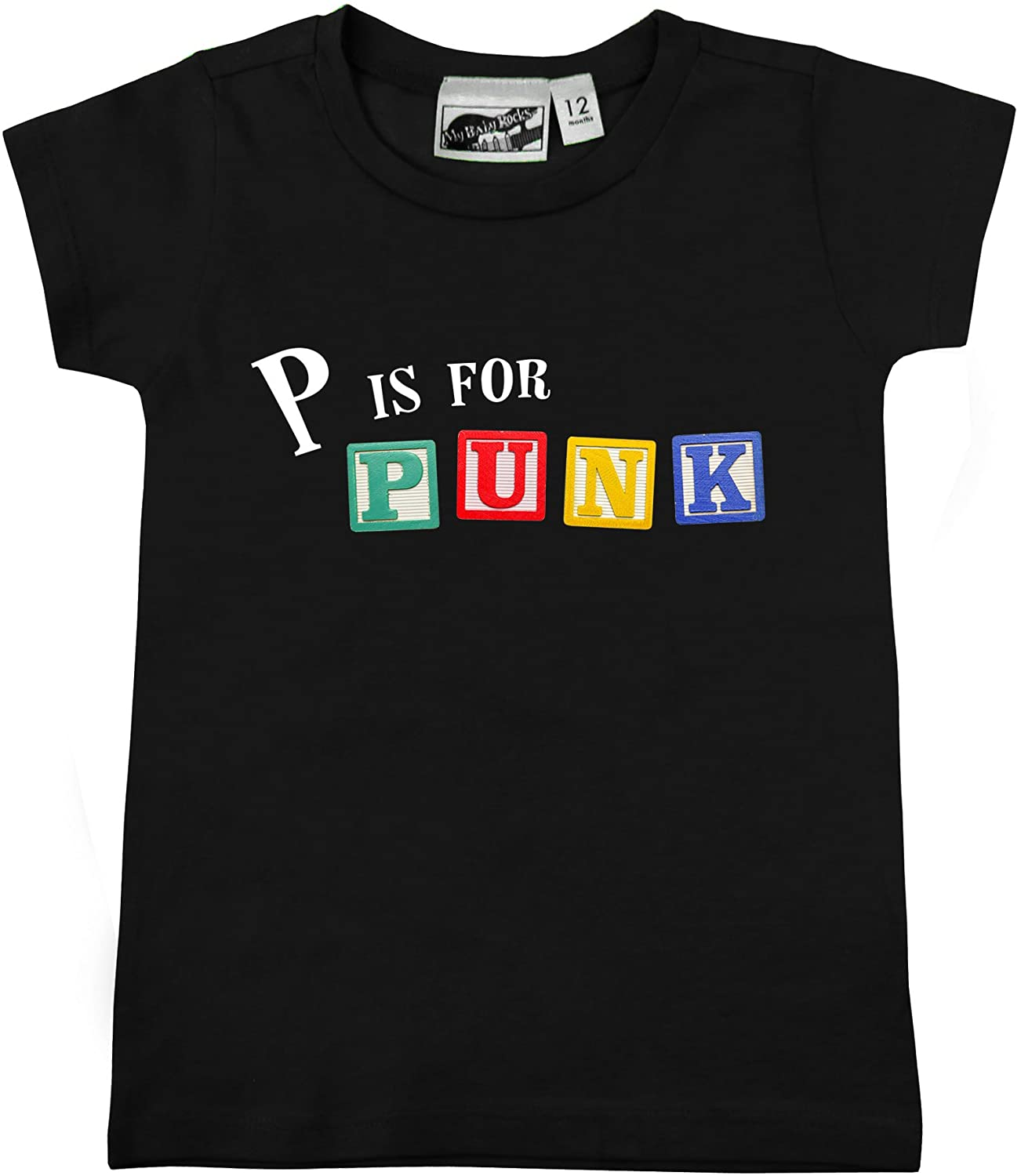 P is for Punk Alphabet Blocks Black Baby & Toddler T-Shirt