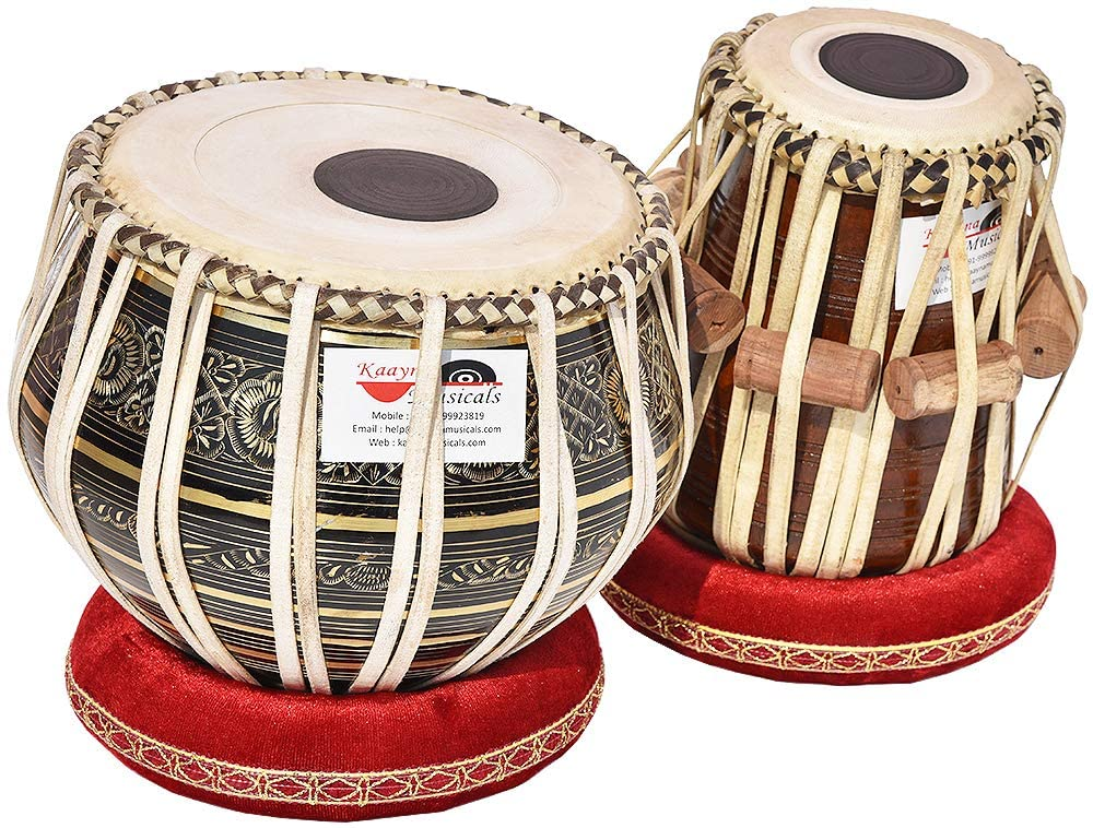 Tabla Drum Set, 3 Kg Black Painted Designer Brass Bayan, Beautiful Look, Sheesham Wood Dayan, Hand Made Drum Skin, Camel Leather Strap to Tune, Comes with Tuning Hammer, Gig Bag, Cushion & Cover