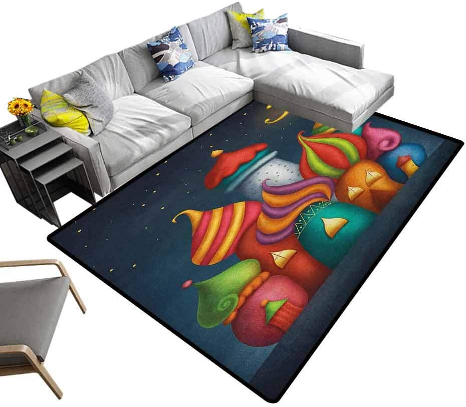 Camping Mat Fantasy, Baby Floor Playmats Crawling Mat Oriental Style Arabesque Castles Under Starry Sky Fairytale Kids Playroom Graphic for Baby Children Playroom Women Yoga Multicolor, 4 x 4 Feet