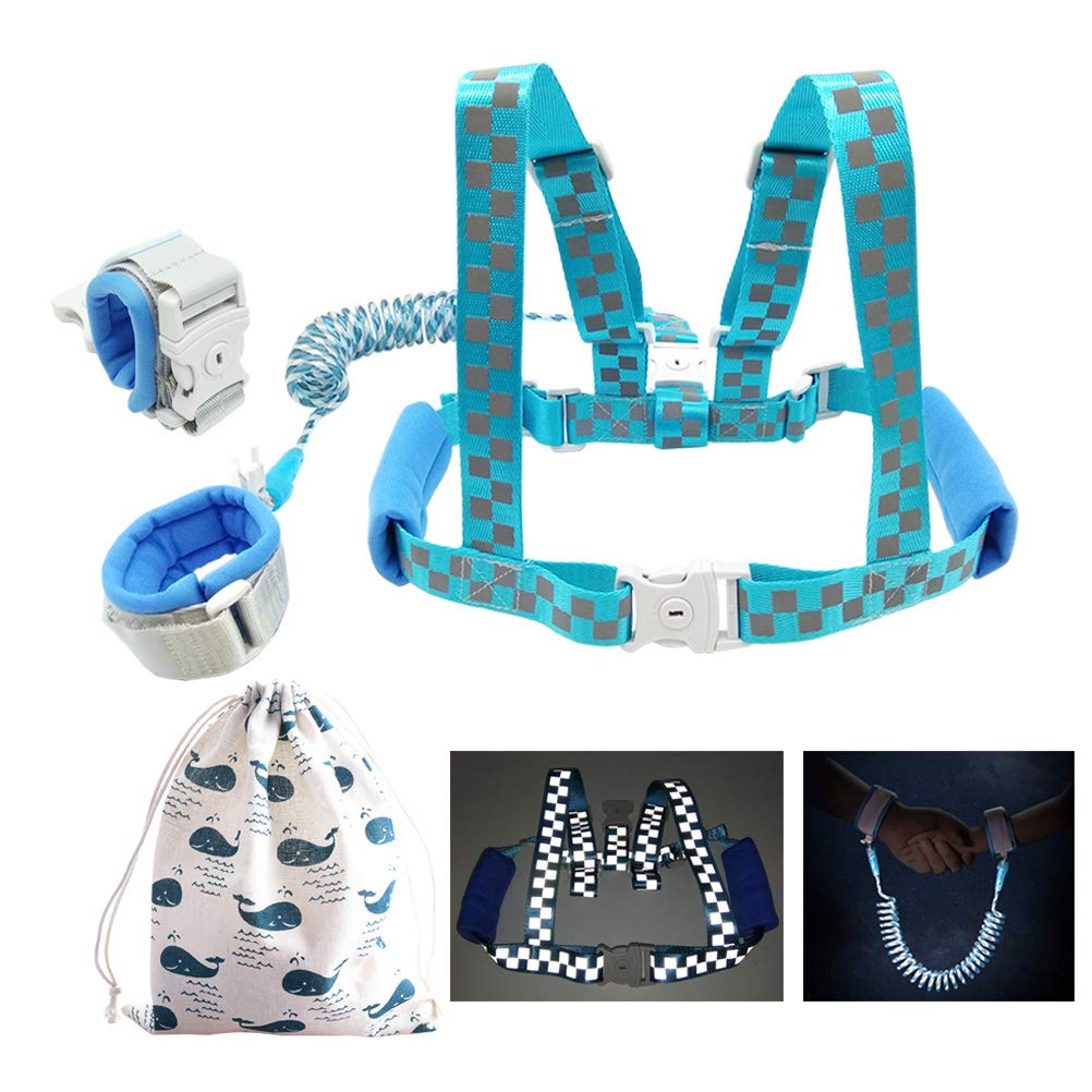 Reflective 2 in 1 Baby Leash Harness and Wrist Link Anti Lost with Upgraded Child Locks (Blue, 6.5 feet)