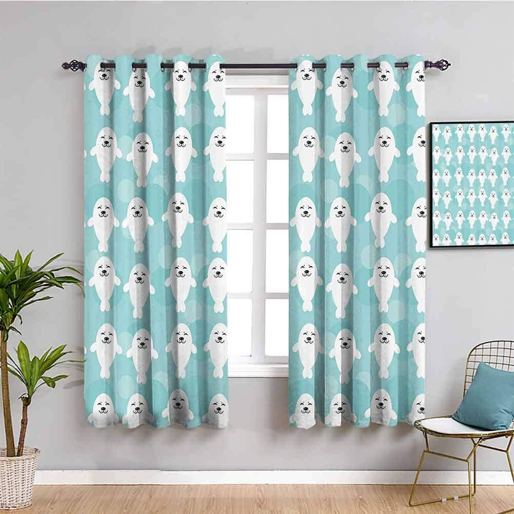 Sea Animals Decor Room Darkened Curtain White Baby Seals with Cute Faces Children Baby Smiling Cheerful Kids 2 Panel Sets W55 x L39 Inch