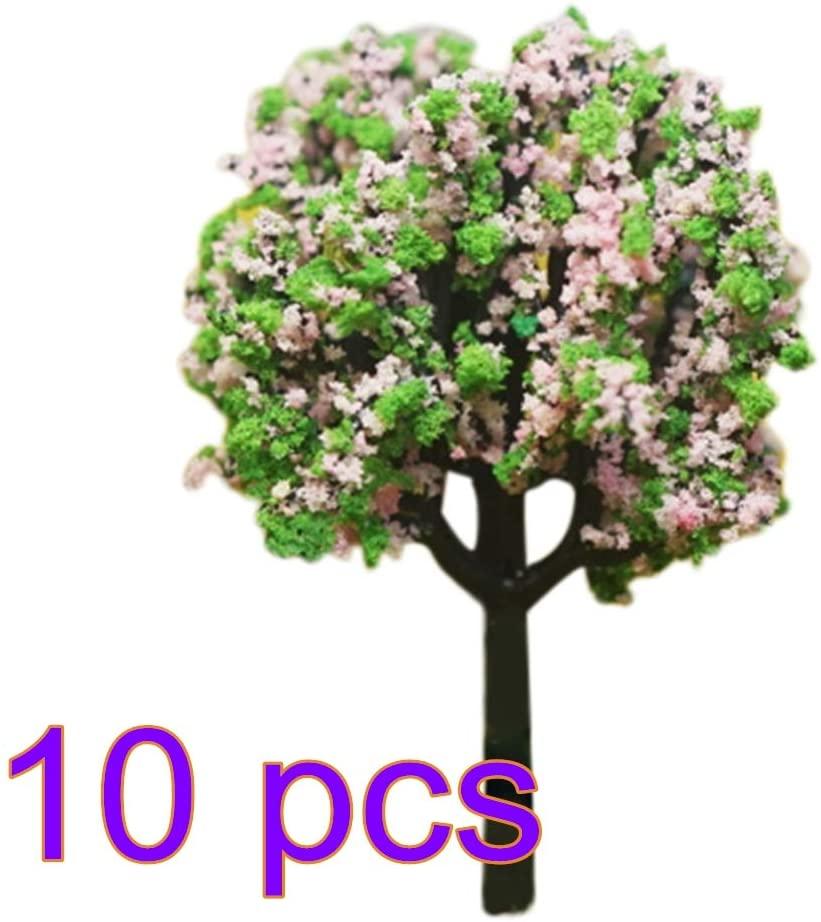 5cm Plastic Miniature Model Trees 10 Pcs, Garden Landscape Scenery Accessories Tree for Train Railroad Scenery Decor
