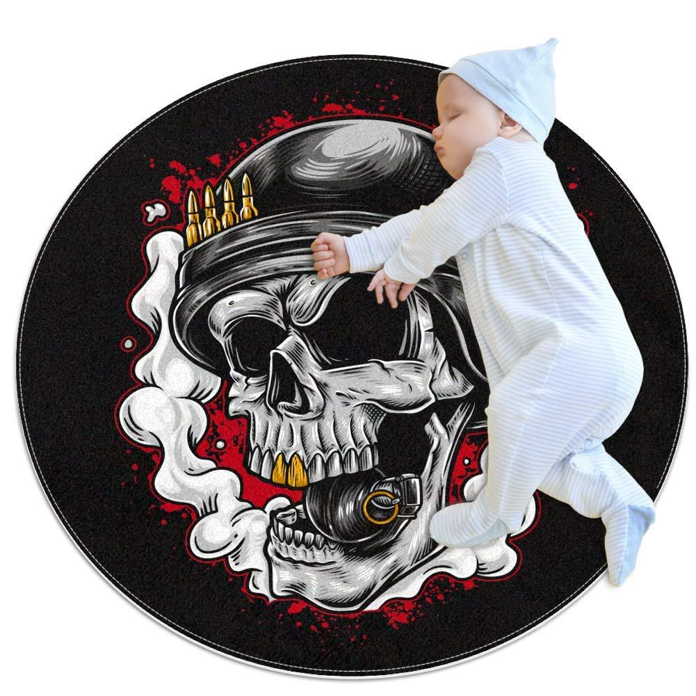 Nursery Rug Skull Helmet Weapon Carpet Baby Crawling Mats Game Blanket Floor Play Mat for Bedroom Living Room Children's Room 39.4x39.4 inches