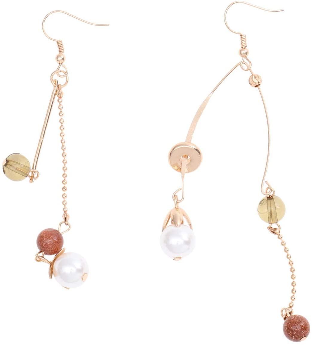 Holibanna Long Tassel Pearl Earrings Asymmetric Bead Dangle Drop Earrings Crystal Retro Ear Jewelry for Women Lady