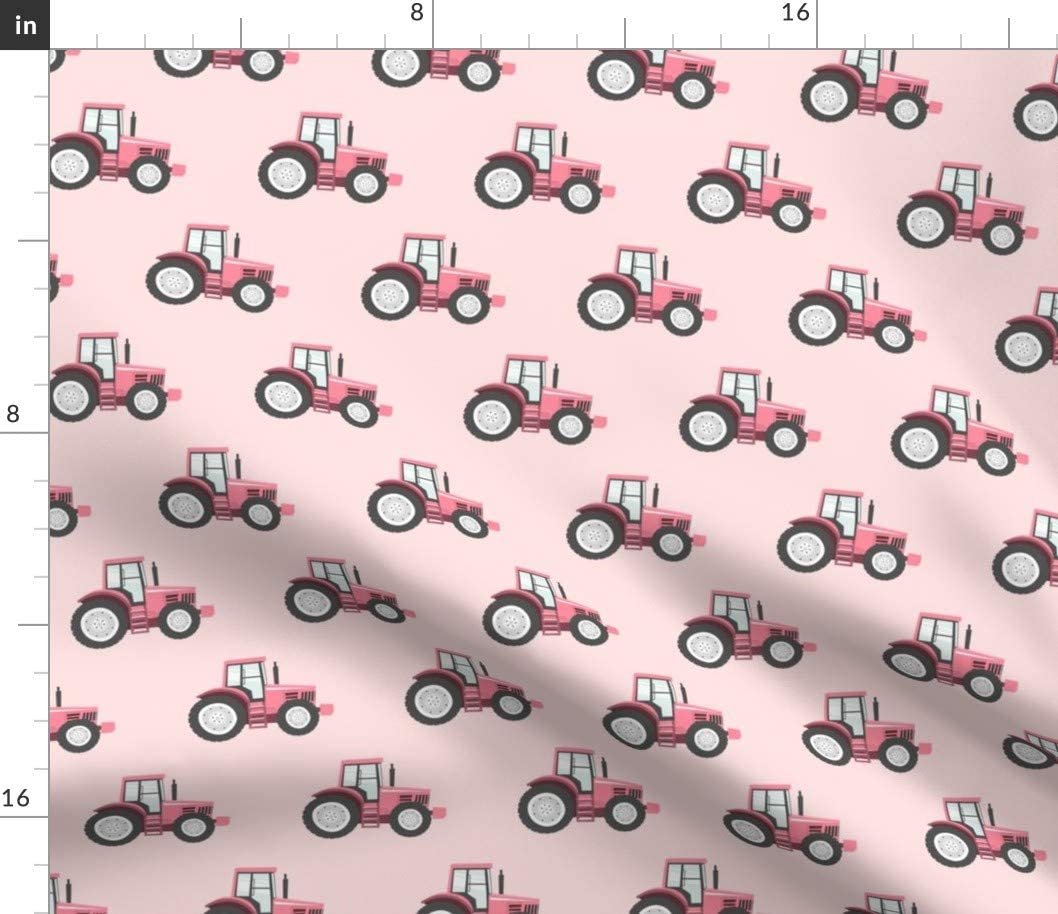 Spoonflower Fabric - Pink Tractors Farm Themed Tractor Little Arrow Baby Printed on Silky Faille Fabric by The Yard -