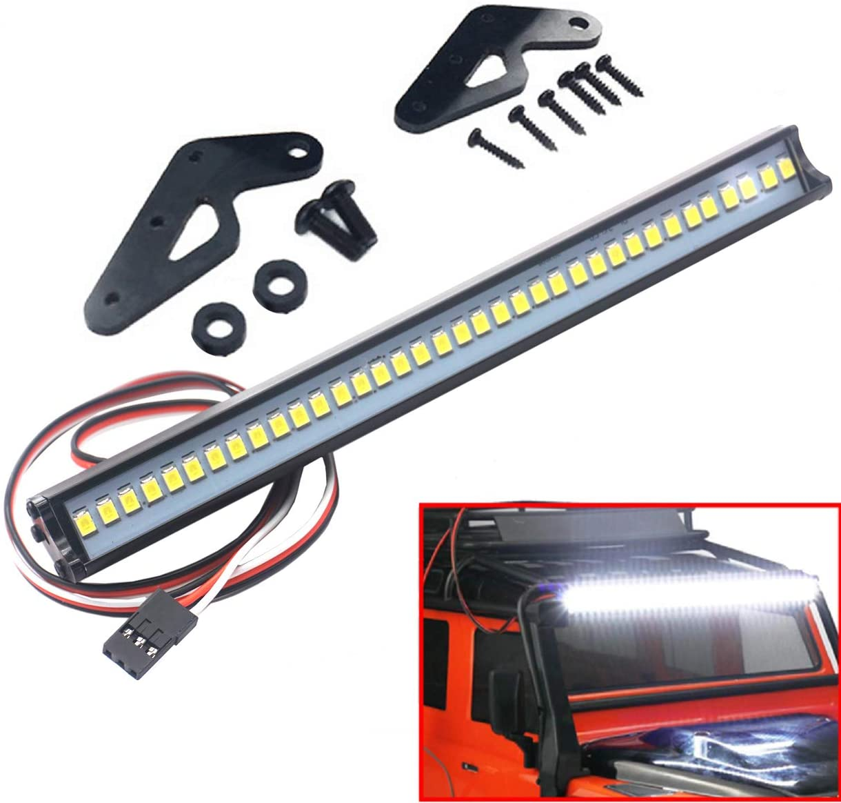 ShareGoo Super Bright 36 LED Light Bar Metal Roof Lamp Lights for Traxxas TRX-4 90046 D90 Axial SCX10 1/10 RC Crawler,150mm/5.9