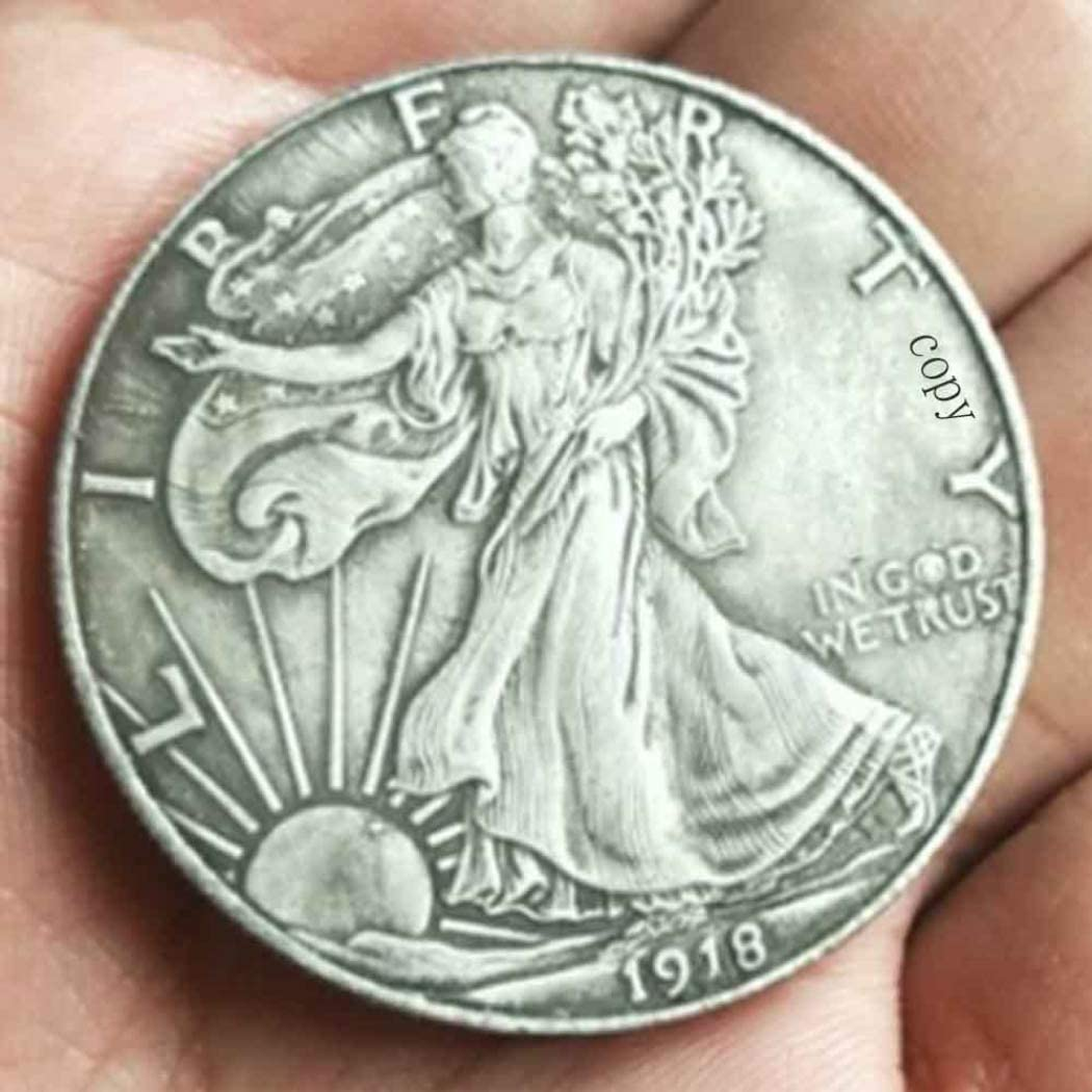Jearls 1918 Hand Carved Antique Morgan Dollars Replica Coin- Great American US Old Coins- Uncirculated Commemorative Copy Coin-Discover Hobo Nickel Coins Making Life Easier