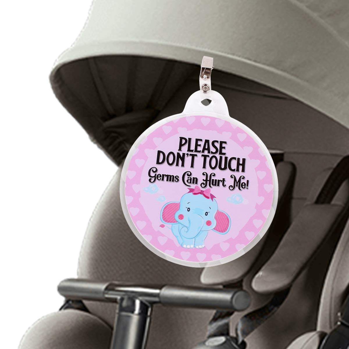 Baby Safety Sign No Touching Tag Newborn Baby Preemie Stroller Tag Baby Car Seat Tag Baby Shower Gift (Pink Elephant)