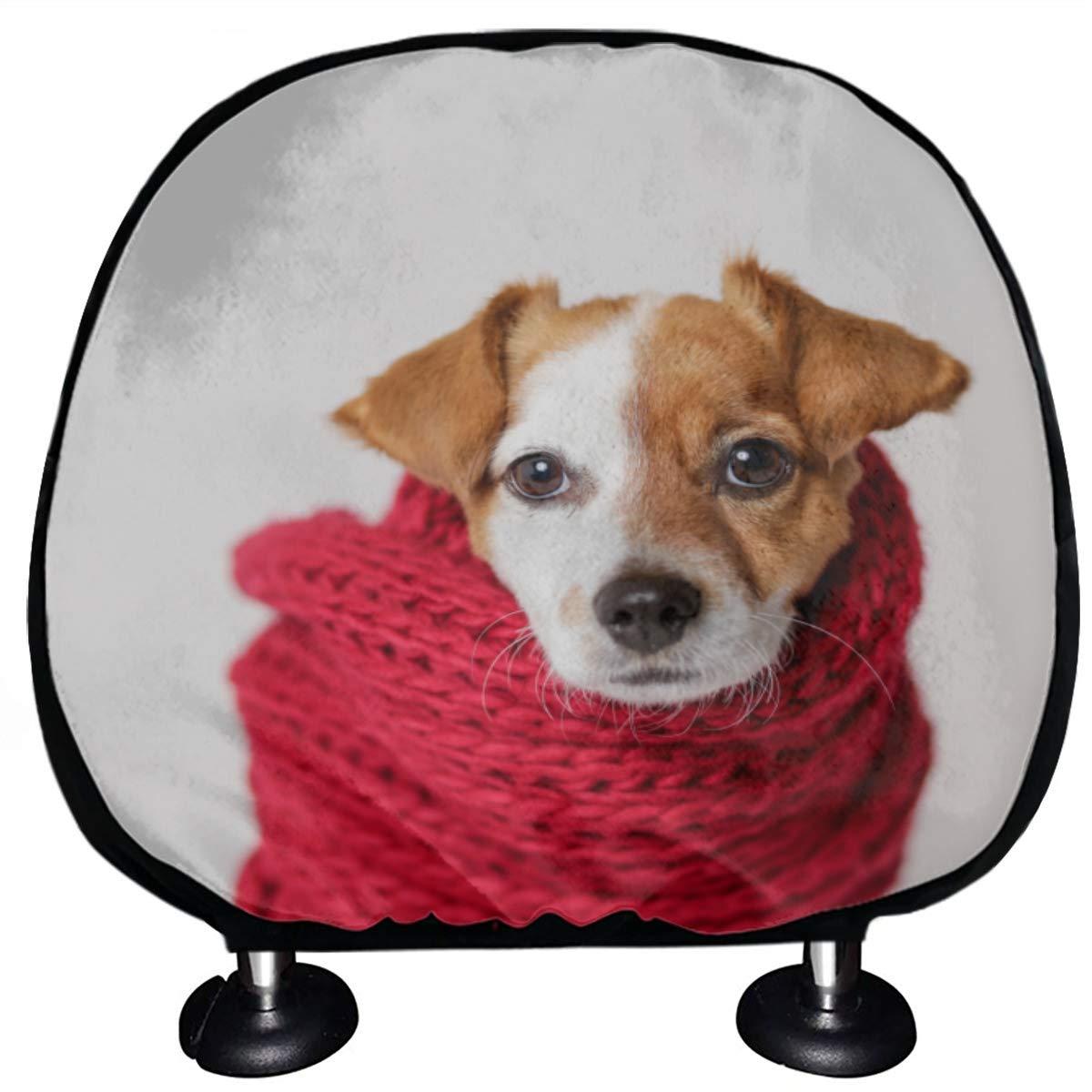 Car Headrest Protector Fashionable Cool Scarf Dog Headrest Protector for Cars Set of 2 Universal Fit for Cars Vans Trucks Headrest Cushion Fashion Auto Interior Accessories