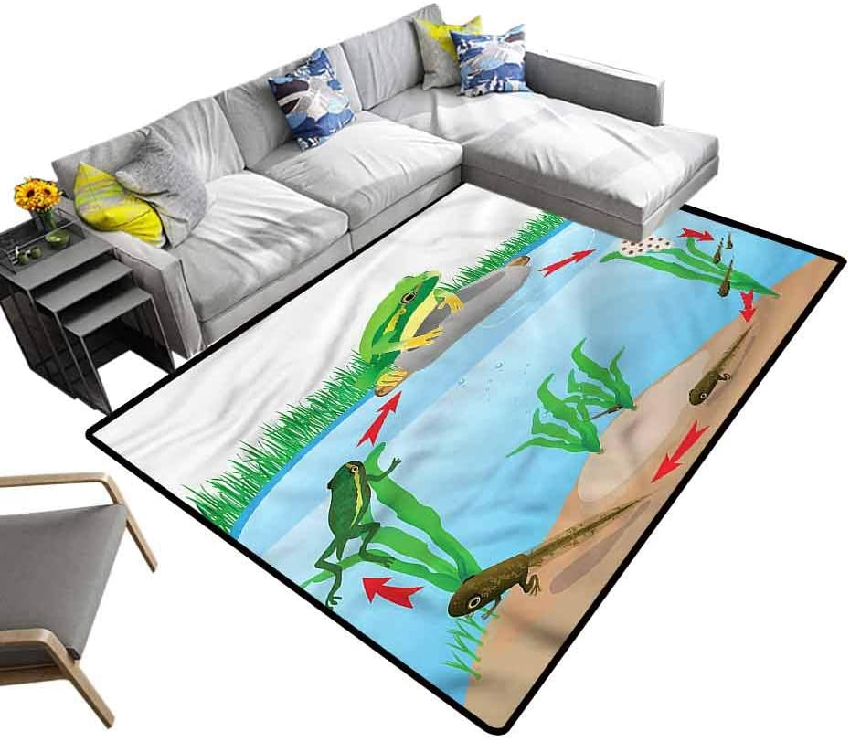 Animal, Nursery Rug Life Cycle of Tropic Frogs Baby Floor Playmats Crawling Mat for Living Room Kids Room, 5'x 7'