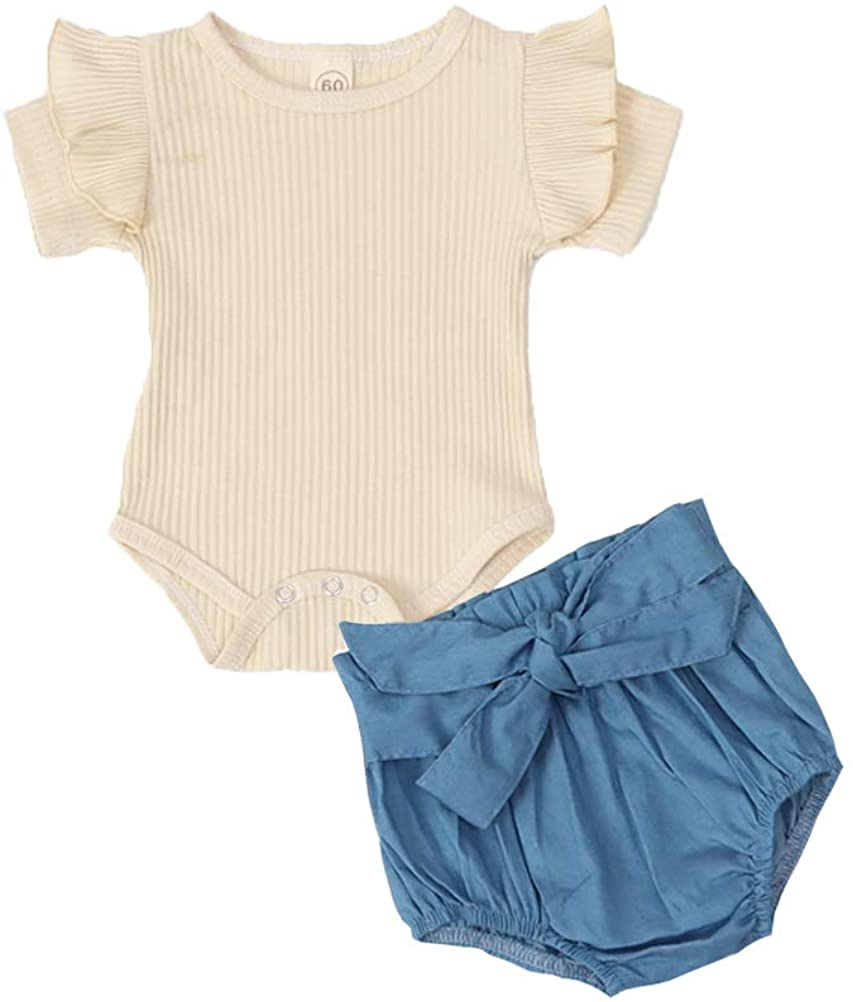 Newborn Baby Girls Summer Outfits Knitted Short Sleeve Romper Tops Shorts 2PCS Clothing Set