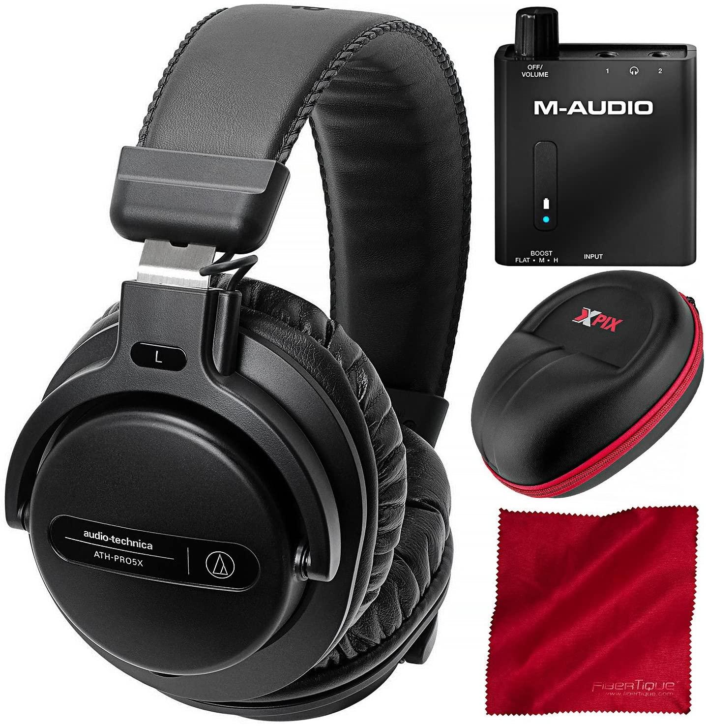 Audio-Technica ATH-PRO5XBK Professional On-Ear DJ Monitor Headphones with M-Audio Bass Traveler Headphone Amplifier, Xpix Headphone Case, and Fibertique Cloth