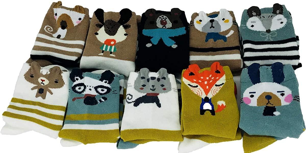 POWER YANNIK Toddler Boys Girls 10-Pack Organic Cotton Crew Sock