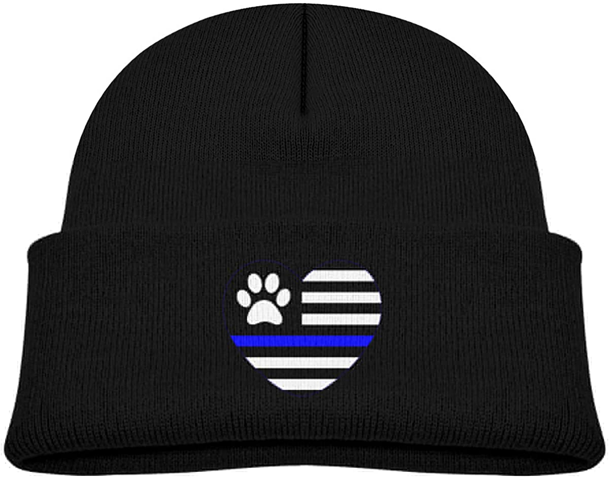 Toddlers Beanie Thin Blue Line Paw Heart Cuffed Knit Hat Skull Cap