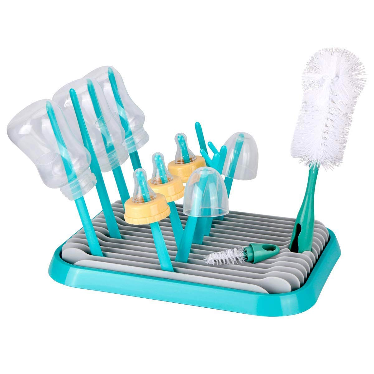 Baby Bottle Drying Rack with Bottle Cleaning Brush Set/Plastic Bag and Bottle Dryer - Drying Rack Saves Money and The Planet Folds for Easy Storage