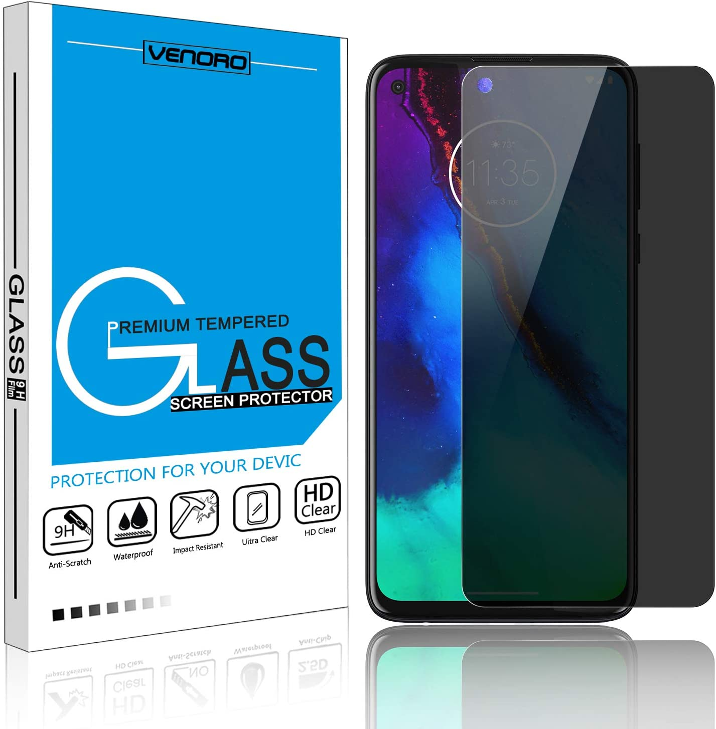 [1 Pack] Moto G Stylus Screen Protector, Venoro 9H Anti-Scratch Bubble Free Privacy Anti-Spy Full Screen Tempered Glass Screen Protector for Motorola Moto G Stylus 6.4inch