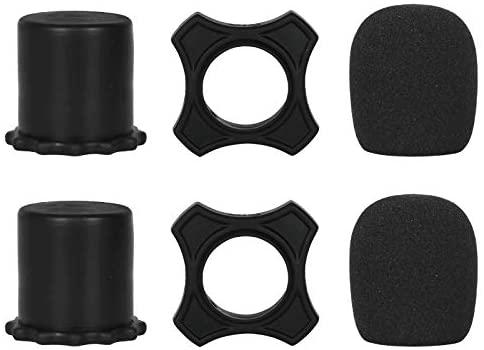 Depusheng Multicolor Handheld Microphone Windscreen Foam Cover & Anti-Rolling Mic Protection Silicone Ring & Bottom Rod Sleeve Holder Set for KTV Device Karaoke DJ (6PCS)