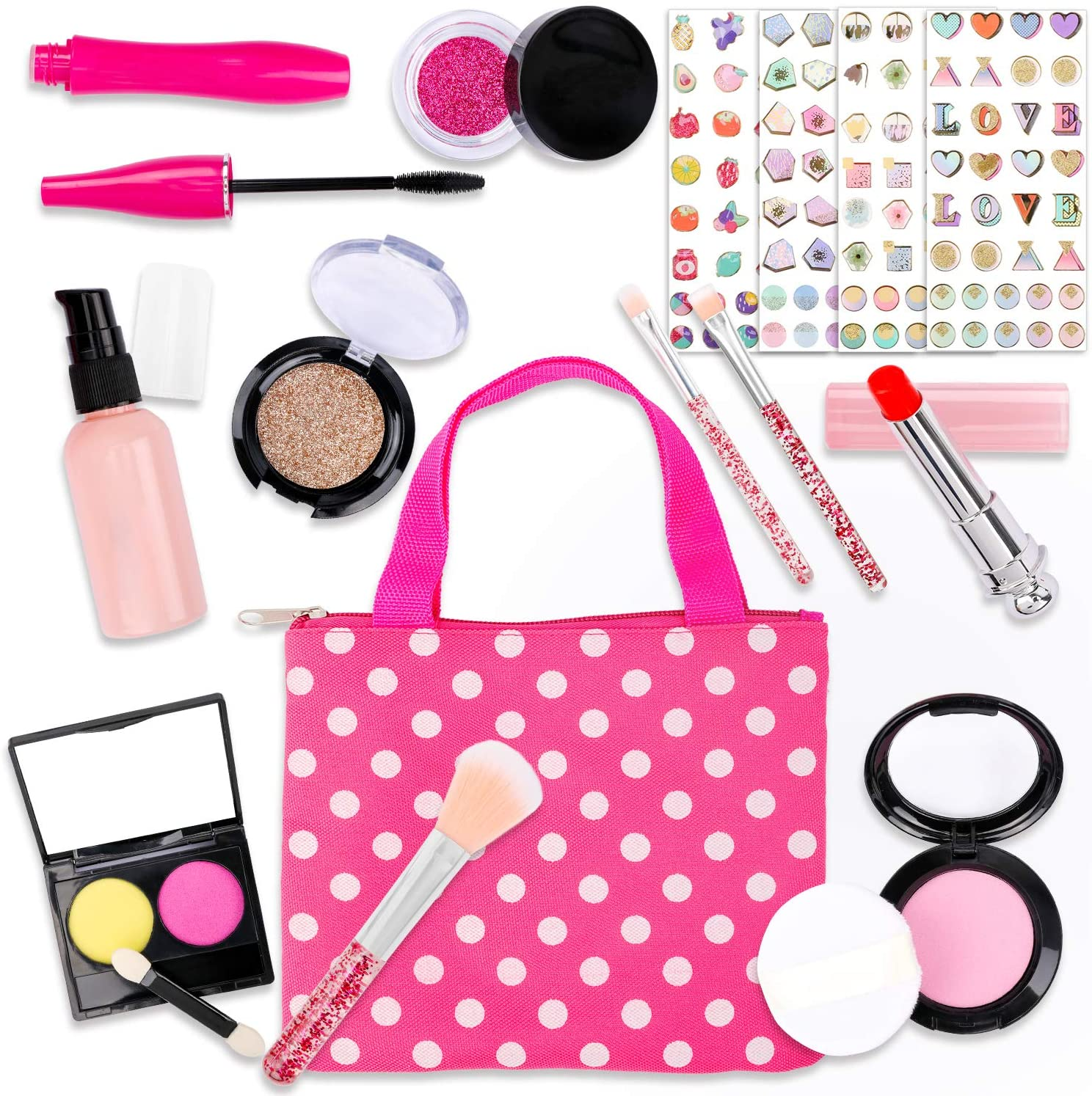Konsait 17pcs Pretend Play Makeup Kit with Polka Dot Handbag,Pretend Play Makeup Toys for Toddlers Little Girls Kids for Birthday Christmas New Year Valentine Gift (Not Real )