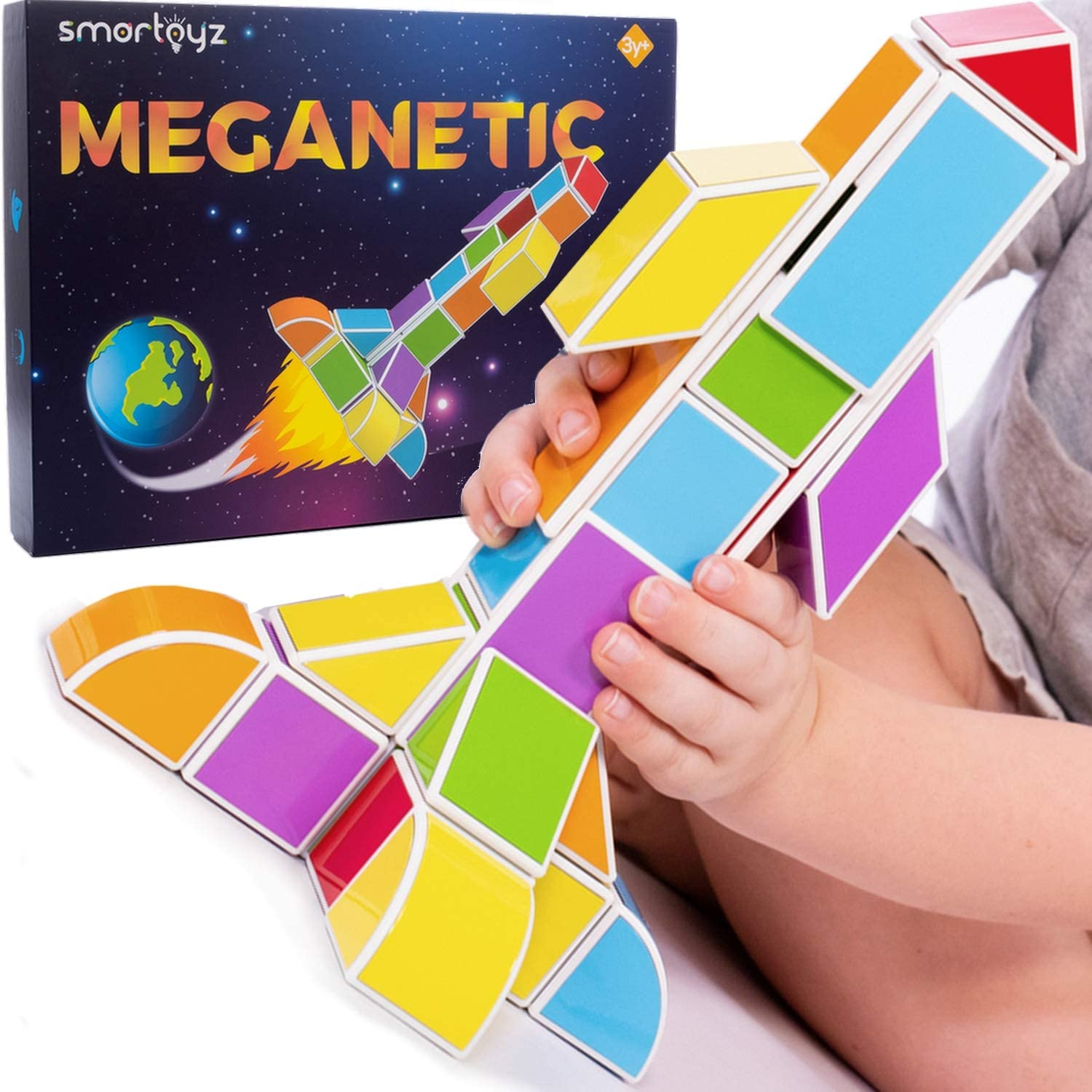 SMARTOYZ Magnetic Building Blocks and Tiles for Kids – STEM Toy Blocks for Ages 3+ Sharpen Creativity, Problem Solving, Fine Motor Skills – BPA-Free Plastic Building Bricks Magnets for Toddlers