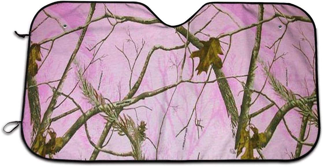 Pink Realtree Camo Foldable Car Sun Shade for Windshield Keep Your Vehicle Cool 27.5 x 51 in