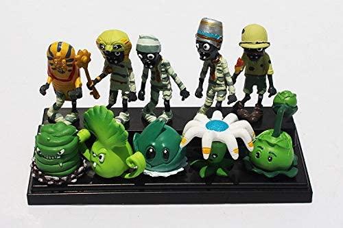 F&J 10pcs/Set Plant VS Zombie Cabbage Pult Bucket Zombie Action Figure Toy(3cm x 10cm, Multicolor)