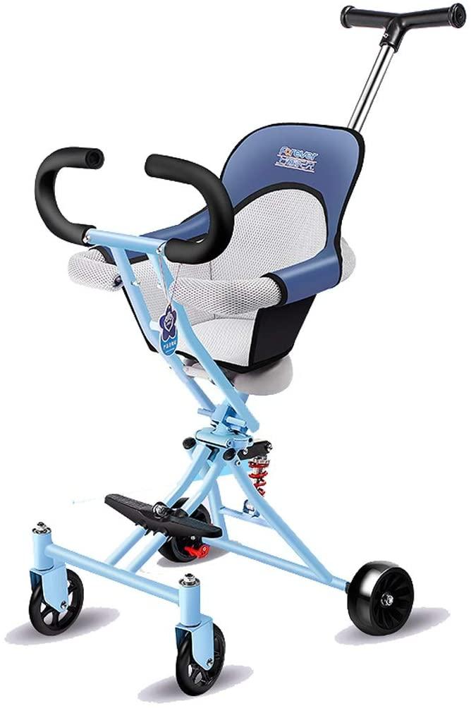 Moolo Kids' Children Car Stroller Artifact, 4-Wheeler Simple Light Folding 1-3 -6 Years Old Soft Seat Flash Wheel Pink Blue Gray Black (Color : Blue)