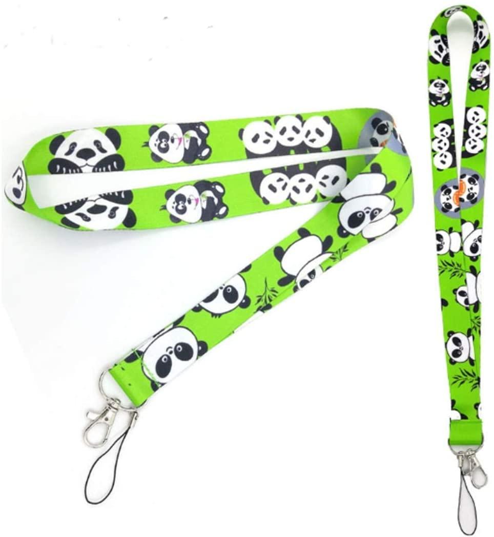 Pandas Green Lanyard Key Chain Badge Holder