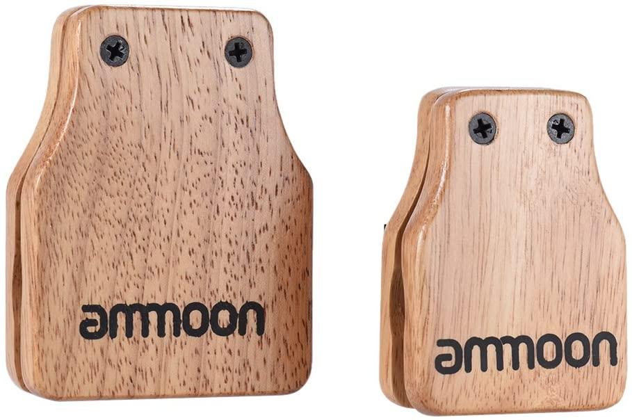 ammoon 2pcs Cajon Box Drum Companion Accessory Castanets Large & Medium for Hand Percussion Instruments