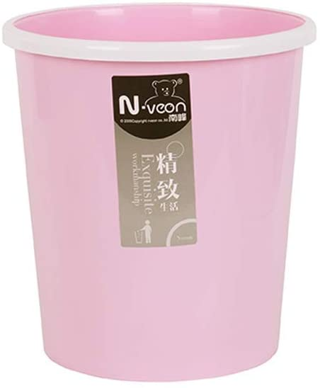 DBZG Plastic Cylindrical Large 12 Liters Trash Can Wastebasket, Garbage Container Bin, Handles for Bathroom, Kitchen, Home Office, Dorm, Kids Room, Durable Step Garbage Without Cover