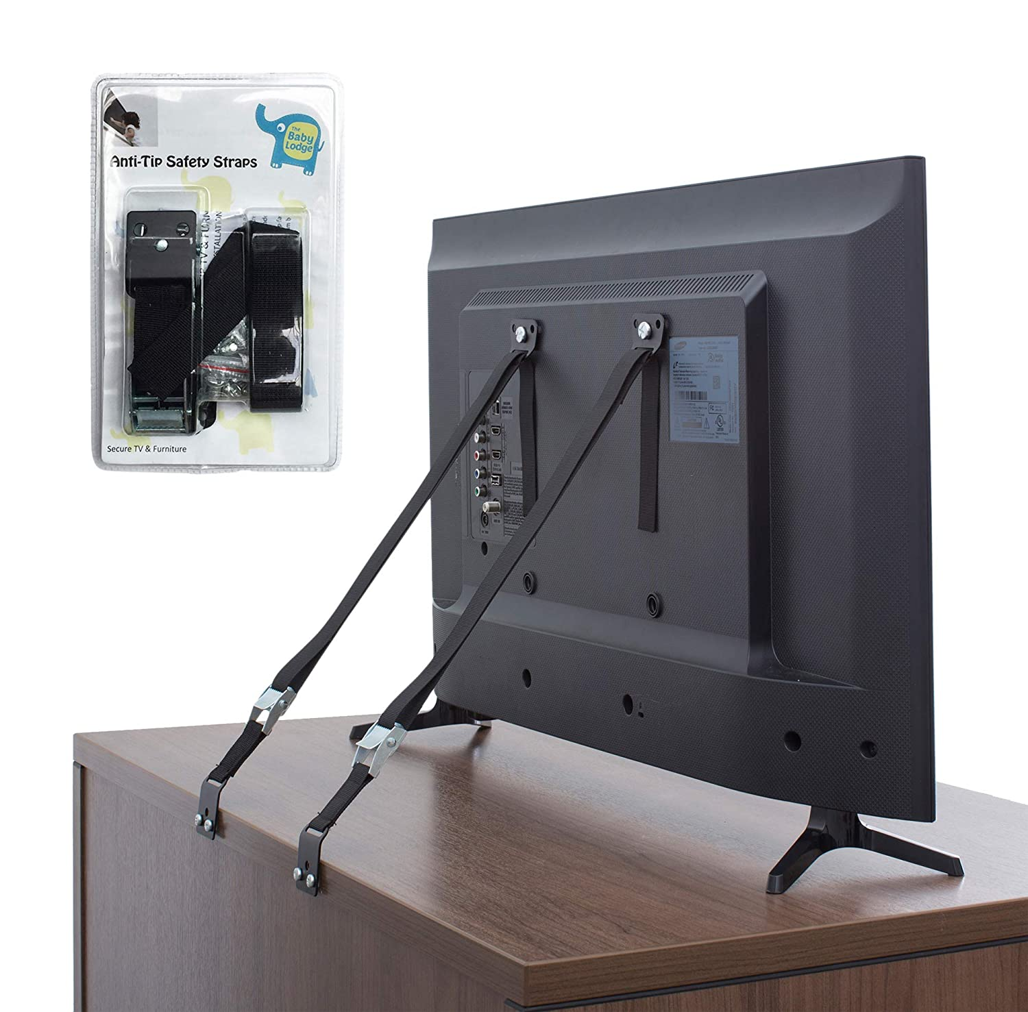 The Baby Lodge TV and Furniture Anti Tip Straps - Safety Furniture Wall Anchors for Baby Proofing Flat Screen TV, Dresser, Bookcase, Cabinets, and More - All Metal, No Plastic Parts (2 Pack, Black)