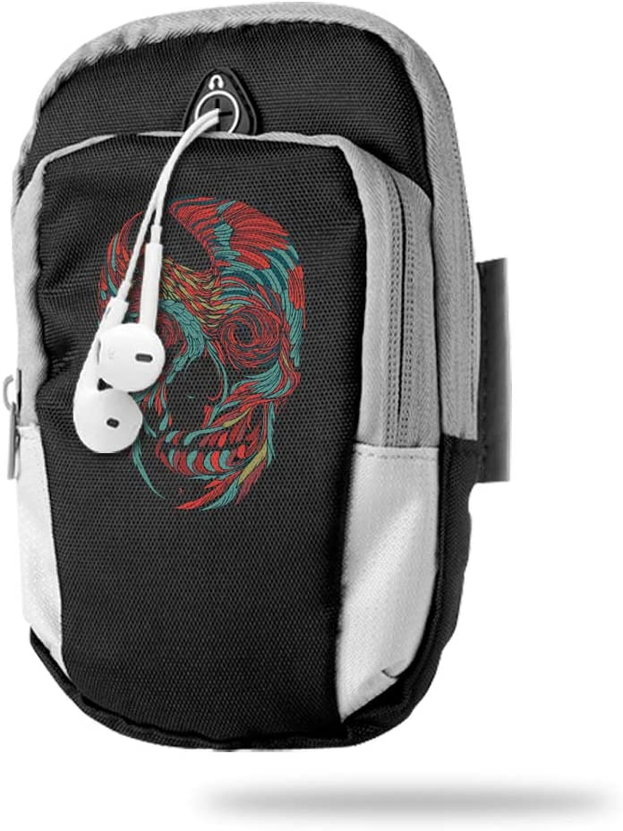 Sports Arm Bag Free Gym Phone Armbands Cell Phone Arm Holder Rooster Skull Pouch Case with Earphone Hole for Running for Men Mini Shoulder Bag Travel Women Kids Handbag