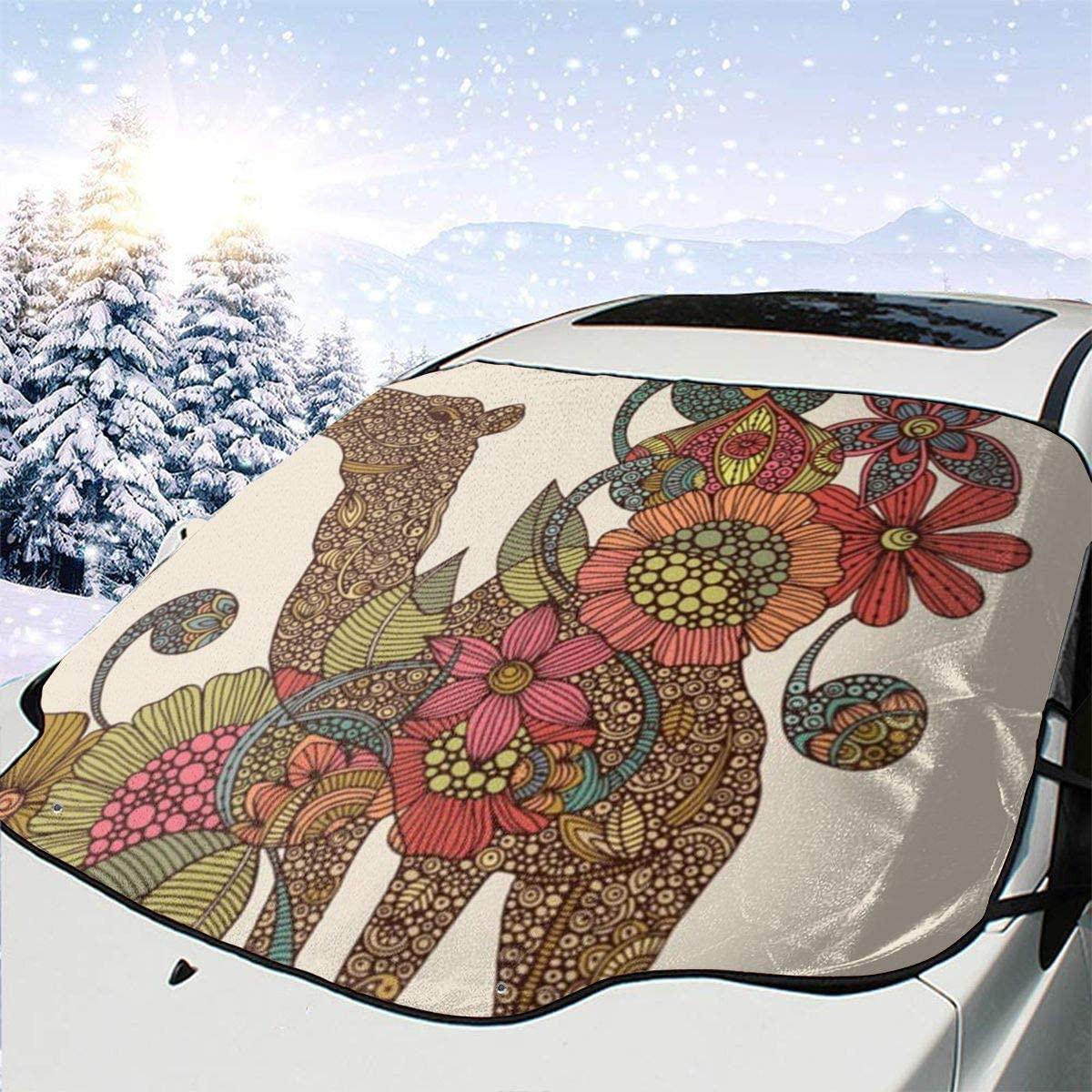 THONFIRE Car Front Window Windshield Ice Sun Shades Easy Camels Cover Rainproof Blocks Heat Damage Free Visor Protector Auto Autumn Heatshield