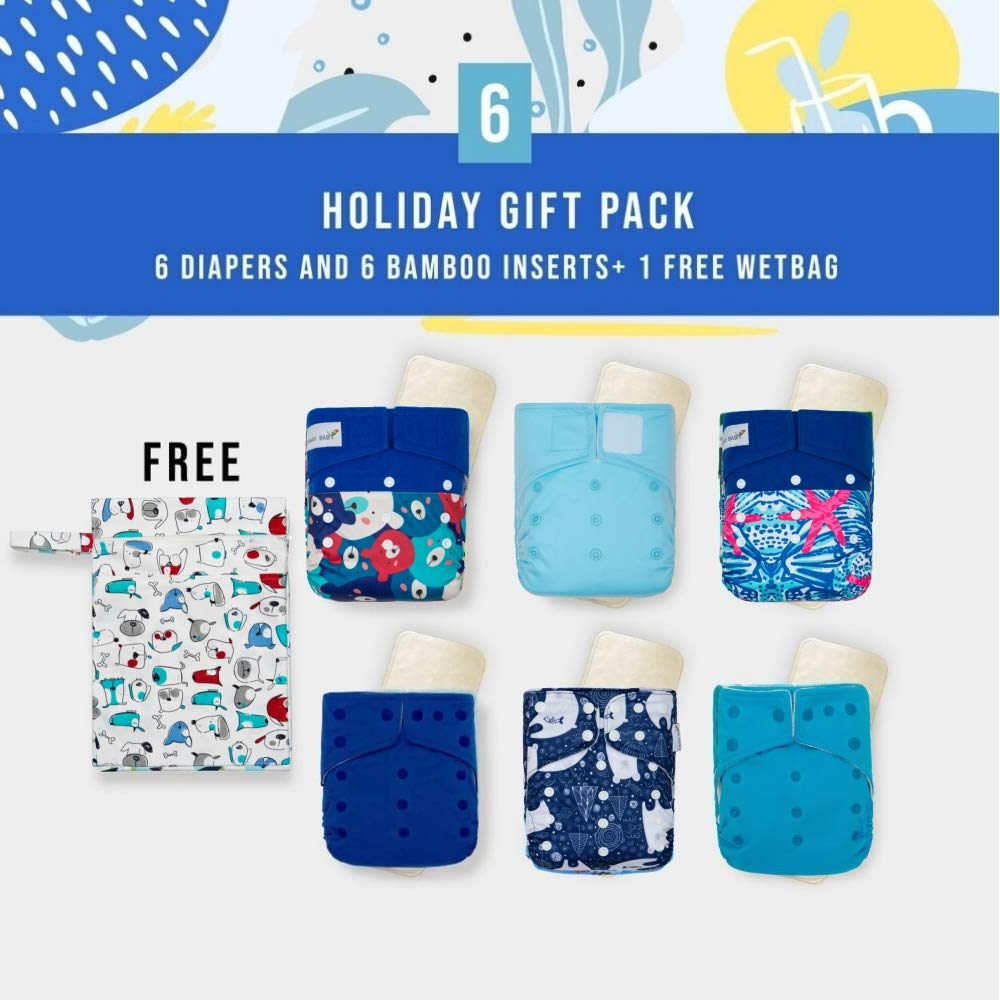 Kawaii Baby Blue Dream Gift Pack 6 Cloth Diapers 6 Premium Bamboo Inserts 1 Free Wet Bag| Leakfree|Eco-Friendly| 8-36 lbs